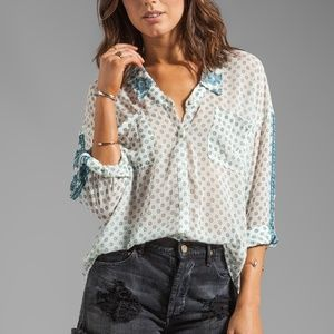 Free People Easy Rider Transparent Button Down